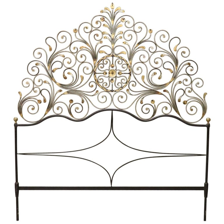20th Century Italian Baroque Style Gilded Wrought Iron Headboard For Sale
