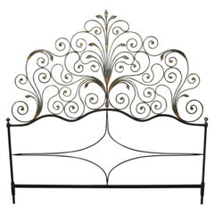 20th Century Italian Baroque Style Gilded Wrought Iron Headboard