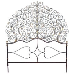 20th Century Italian Baroque Style Gilded Wrought Iron Headboard with Sconces