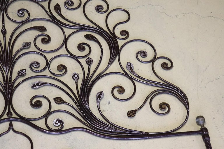 Mid-20th Century 20th Century Italian Baroque Style Silvered Wrought Iron Headboard For Sale
