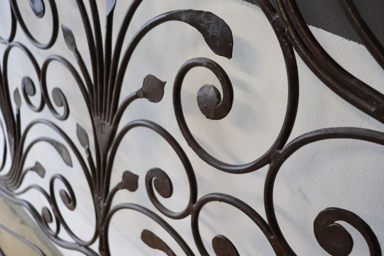 20th Century Italian Baroque Style Silvered Wrought Iron Headboard For Sale 4