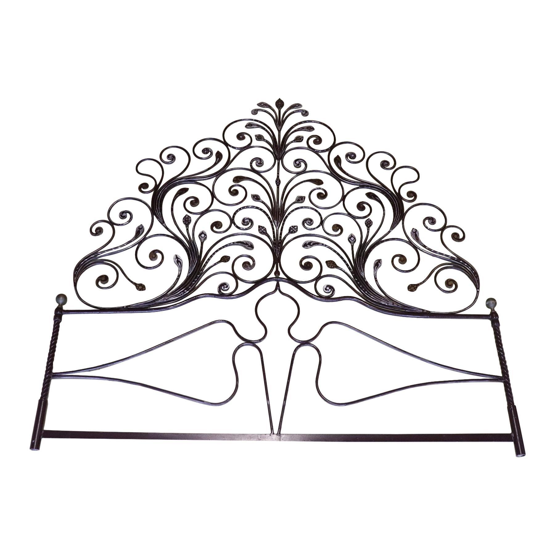 20th Century Italian Baroque Style Silvered Wrought Iron Headboard