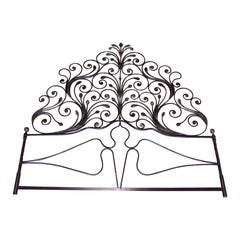 20th Century Italian Baroque Style Silvered Wrought Iron Headboard