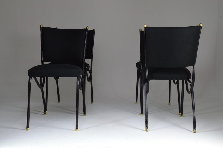20th Century Italian BBPR Style Dining Chairs, Set of 4, 1950s For Sale 6