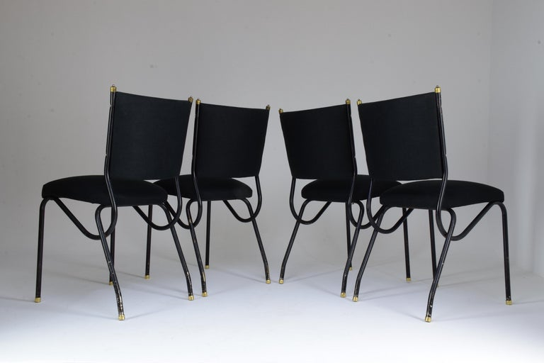 Steel 20th Century Italian BBPR Style Dining Chairs, Set of 4, 1950s For Sale