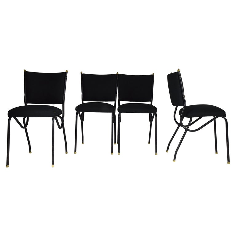 20th Century Italian BBPR Style Dining Chairs, Set of 4, 1950s For Sale
