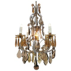 20th Century Italian Beaded Crystal Cage Chandelier with Amber Grey Pendants