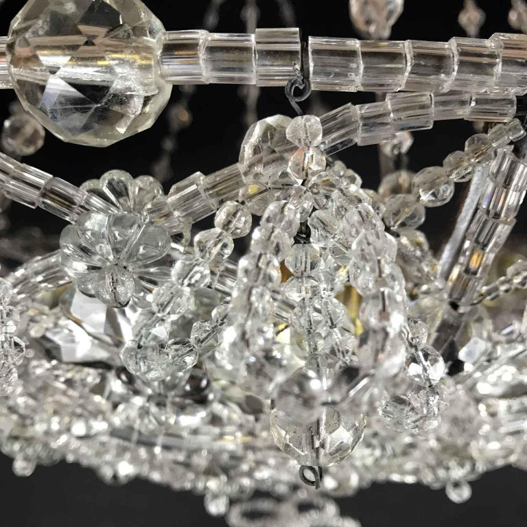 20th Century Italian Beaded Crystal Flush Mount Umbrella Chandelier  For Sale 8