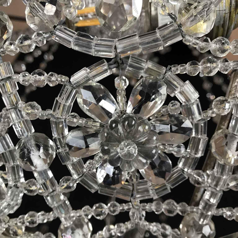 20th Century Italian Beaded Crystal Flush Mount Umbrella Chandelier  For Sale 9