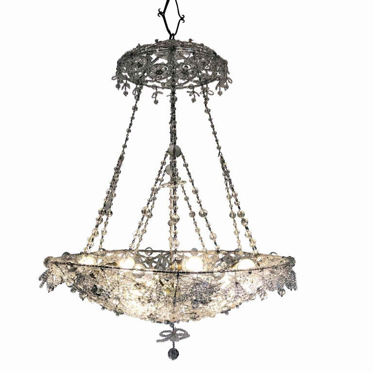 20th Century Italian Beaded Crystal Flush Mount Umbrella Chandelier  For Sale 11