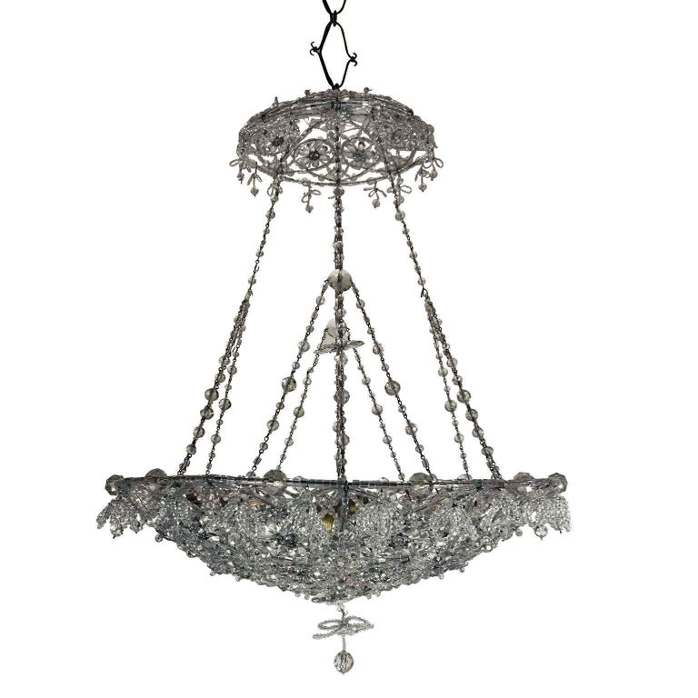 20th Century Italian Beaded Crystal Flush Mount Umbrella Chandelier  For Sale 12