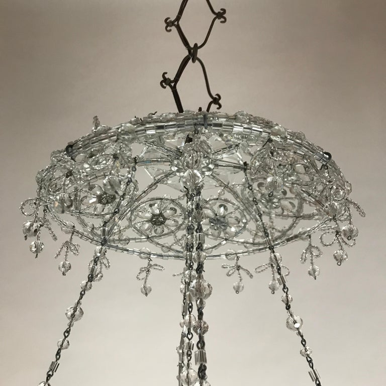 20th Century Italian Beaded Crystal Flush Mount Umbrella Chandelier  For Sale 13