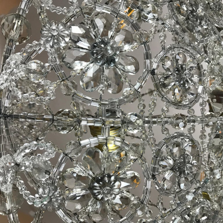 20th Century Italian Beaded Crystal Flush Mount Umbrella Chandelier  For Sale 15