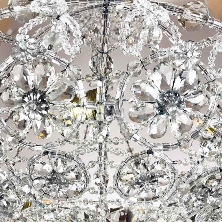 20th Century Italian Beaded Crystal Flush Mount Umbrella Chandelier  For Sale 17