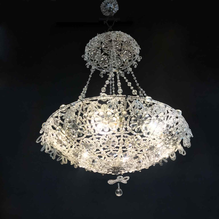 20th Century Italian Beaded Crystal Flush Mount Umbrella Chandelier  In Good Condition For Sale In Milan, IT
