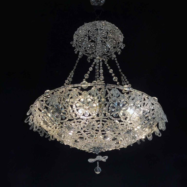 20th Century Italian Beaded Crystal Flush Mount Umbrella Chandelier  For Sale 1