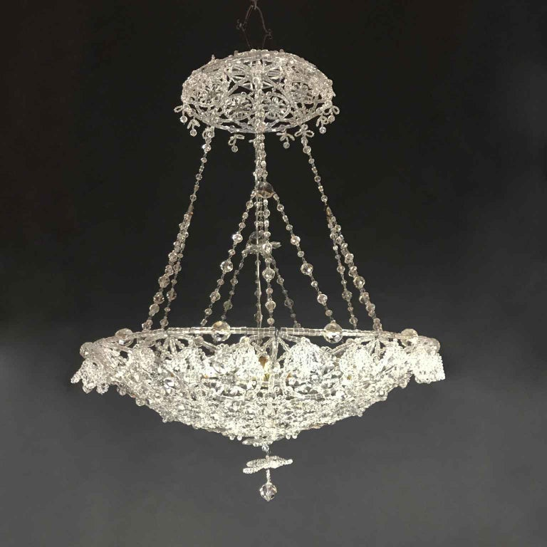 20th Century Italian Beaded Crystal Flush Mount Umbrella Chandelier  For Sale 3