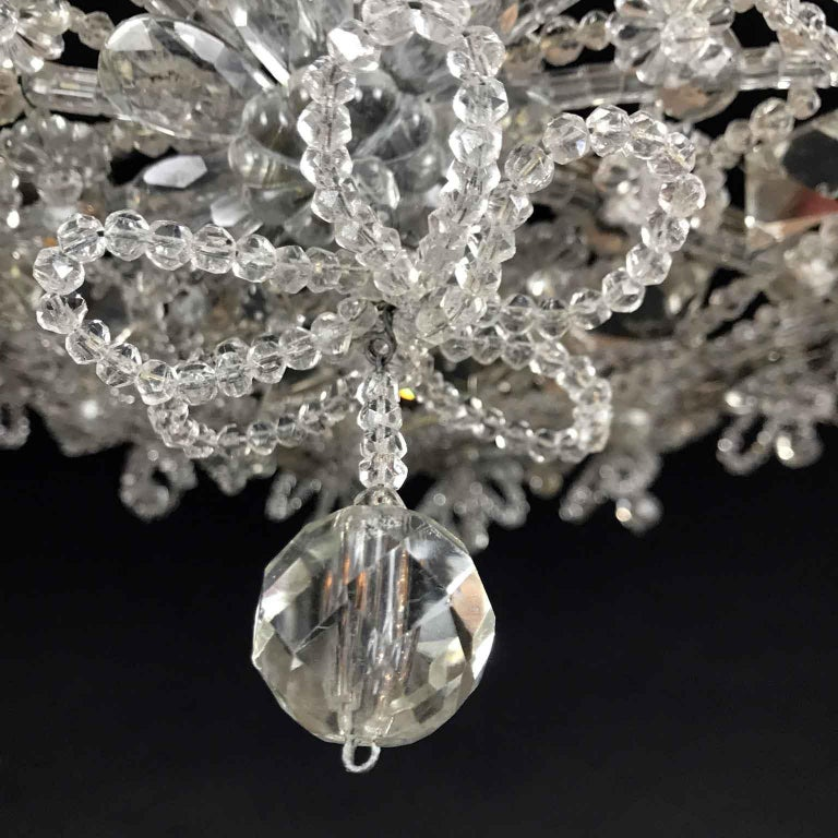 20th Century Italian Beaded Crystal Flush Mount Umbrella Chandelier  For Sale 4