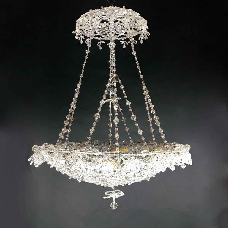 20th Century Italian Beaded Crystal Flush Mount Umbrella Chandelier  For Sale 5