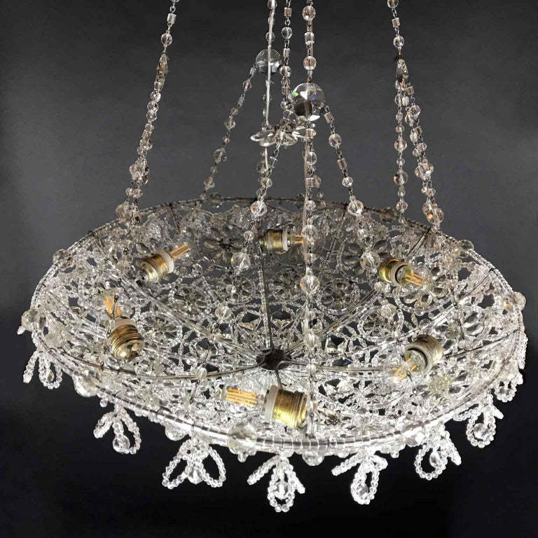 20th Century Italian Beaded Crystal Flush Mount Umbrella Chandelier  For Sale 6