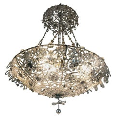 20th Century Italian Beaded Crystal Flush Mount Umbrella Chandelier