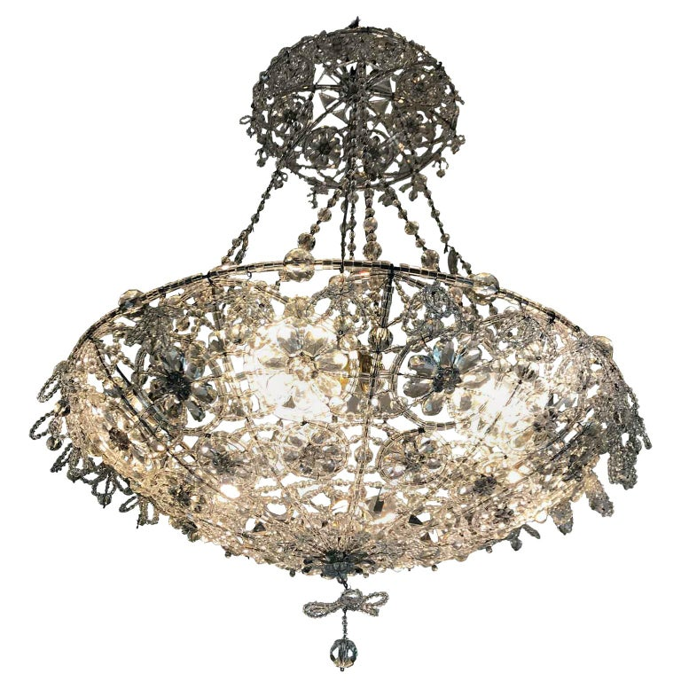 20th Century Italian Beaded Crystal Flush Mount Umbrella Chandelier  For Sale
