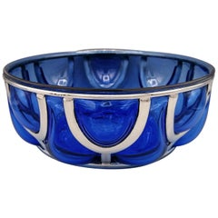 20th Century Italian Blu Murano Glass Bowl with Silver Cage