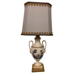 20th Century Italian Blue and White Table Lamp Ginori Porcelain