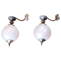 20th Century Italian Bronze and Artistic Glass Pair of Wall Light or Sconces