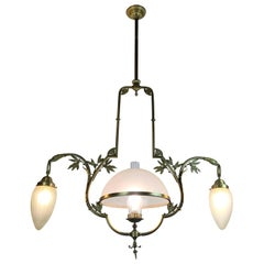 20th Century Italian Bronze Chandelier Art Deco Lighting