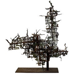 20th Century Italian Brutalist Abstract Metal Sculpture by Marcello Fantoni