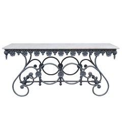20th Century Italian Butcher Table in Cast Iron and Carrara Marble Top