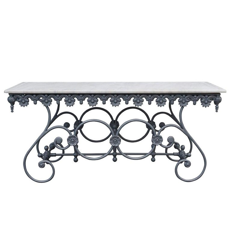 20th Century Italian Butcher Table in Cast Iron and Carrara Marble Top For Sale