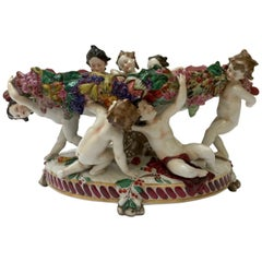 20th Century Italian Capodimonte Oval Centerpiece with Putti and Fruit