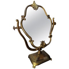 20th Century Italian Carved Bronze Cheval Vanity Dressing Table Top Mirror