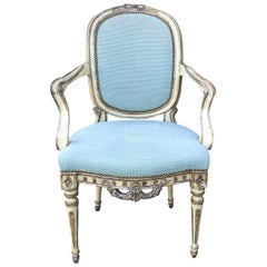 20th Century Italian Carved and Painted Armchair