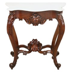 20th Century Italian Carved Walnut Louis Philippe Console Table with Marble Top
