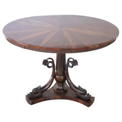 20th Century Italian Carved Walnut Round Center Table or Pedestal Table