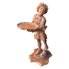 20th Century Italian Carved Wood Figure of Boy with Serving Tray