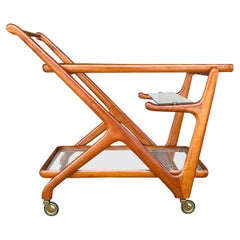 20th Century Italian Cassina Bar Cart, Serving Walnut Trolley by Cesare Lacca