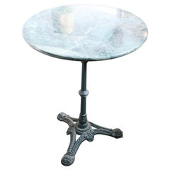 20th Century Italian Cast Iron Garden Pedestal Table with Green Marble Top