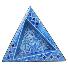 20th Century Italian Ceramic Triangular Ashtray