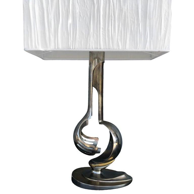 Mid-Century Modern 20th Century Silver Italian Chrome Table, Desk Lamp For Sale