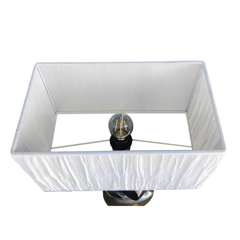 Hand-Crafted 20th Century Silver Italian Chrome Table, Desk Lamp For Sale