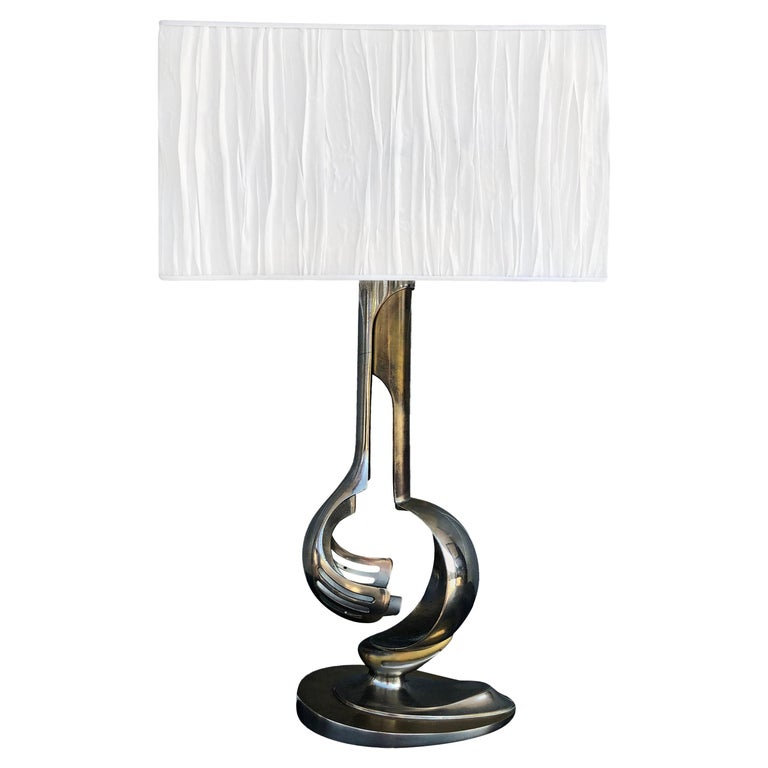 20th Century Silver Italian Chrome Table, Desk Lamp For Sale
