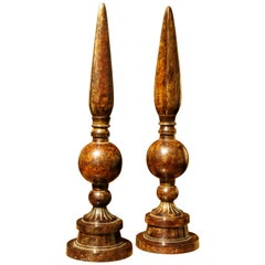 20th Century Italian Cold Painted Brown Patinated Decorative Obelisks