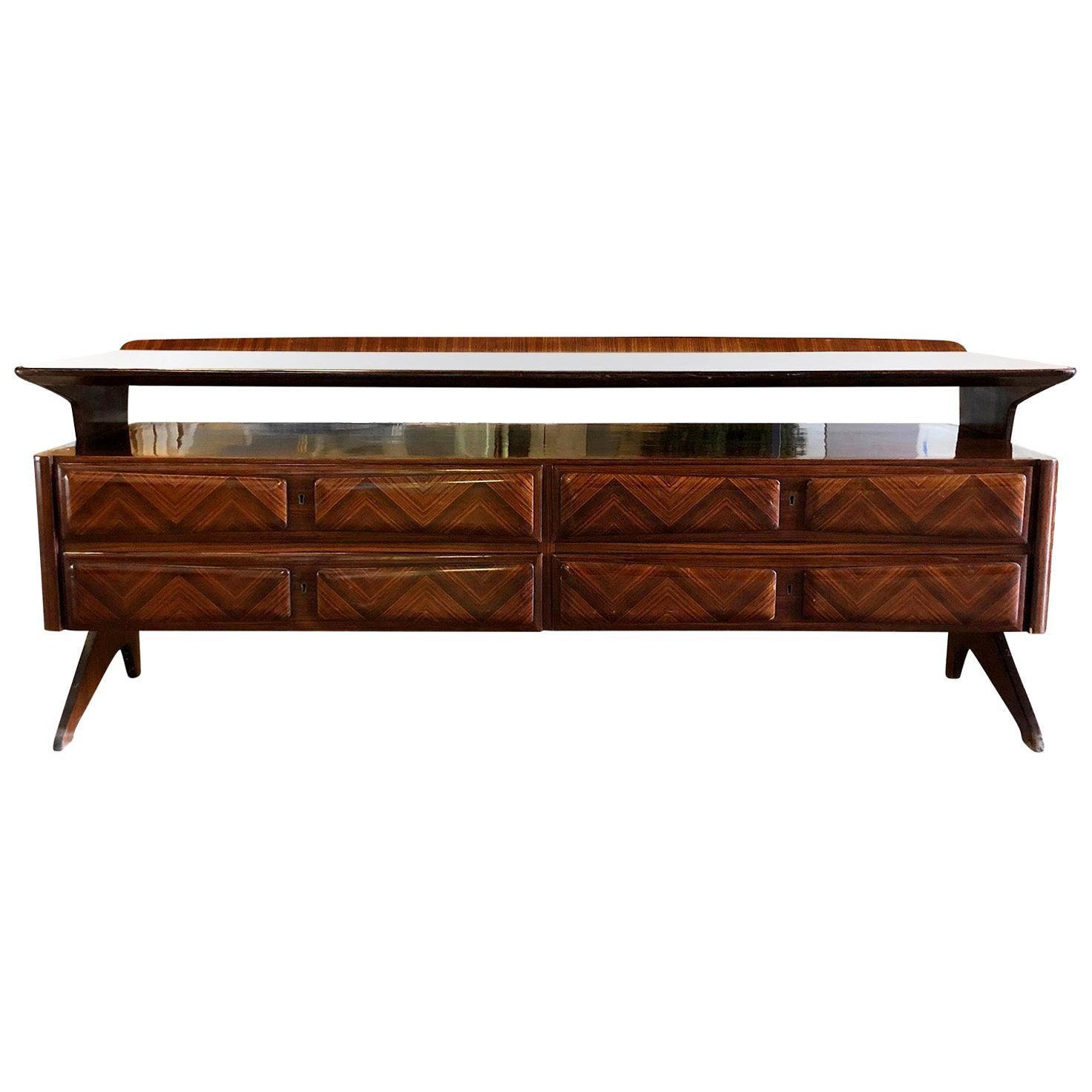 20th Century Italian Credenza, Palisanderwood Sideboard by Vittorio Dassi