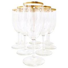 20th Century Italian Crystal and 22-Karat Gold Rim Stem Glasses, Set of 9