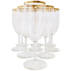20th Century Italian Crystal and 22-Karat Gold Rim Stem Glasses, Set of 9