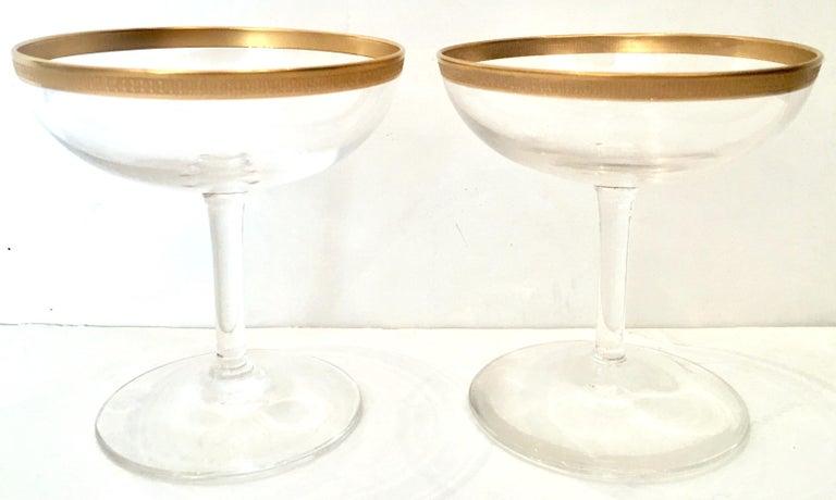 20th Century Italian Crystal and 22-Karat Gold Rim Stem Glasses, S/12 For Sale 1